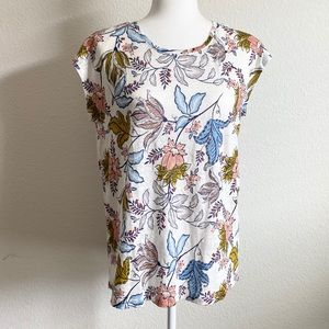 Rachel Zoe NWT Linen Floral Back Button Top M